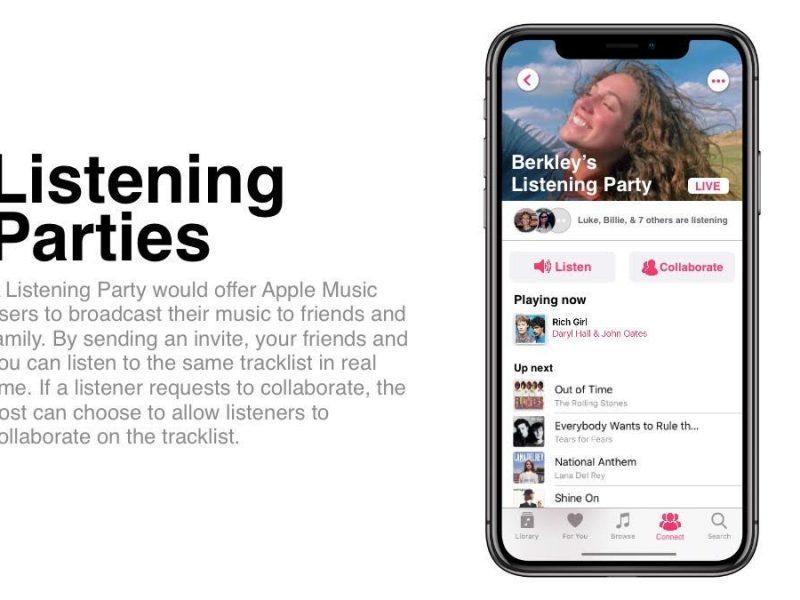 Le concept Apple Music imagine de nouvelles fonctionnalités sociales, notamment des soirées d'écoute et des listes de lecture de groupe
