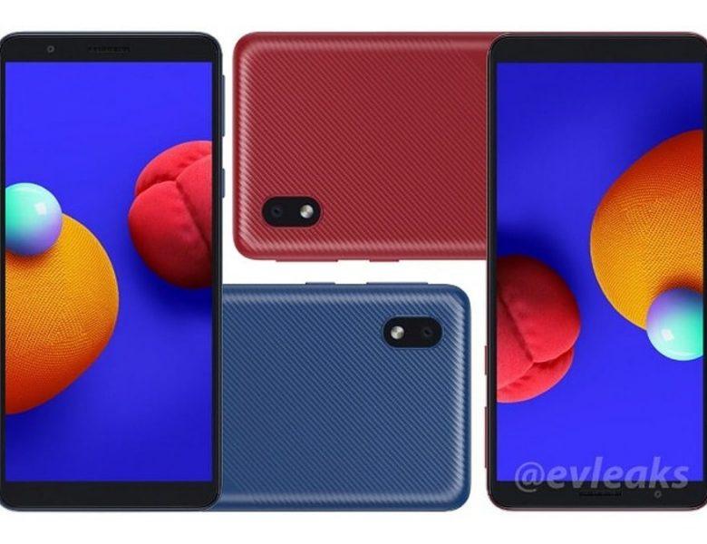 Samsung Galaxy A01 Core Reaked Render Tips Panneau arrière texturé, caméra arrière unique