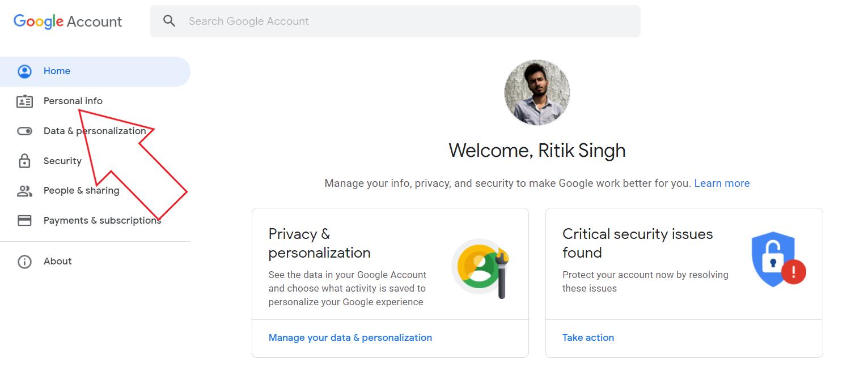 Supprimer la photo de profil du compte Google